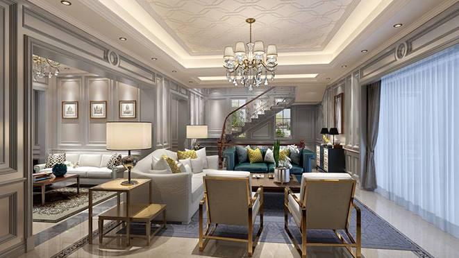 杭州尚层装饰义乌玫瑰园现代小法式风格别墅装修案例