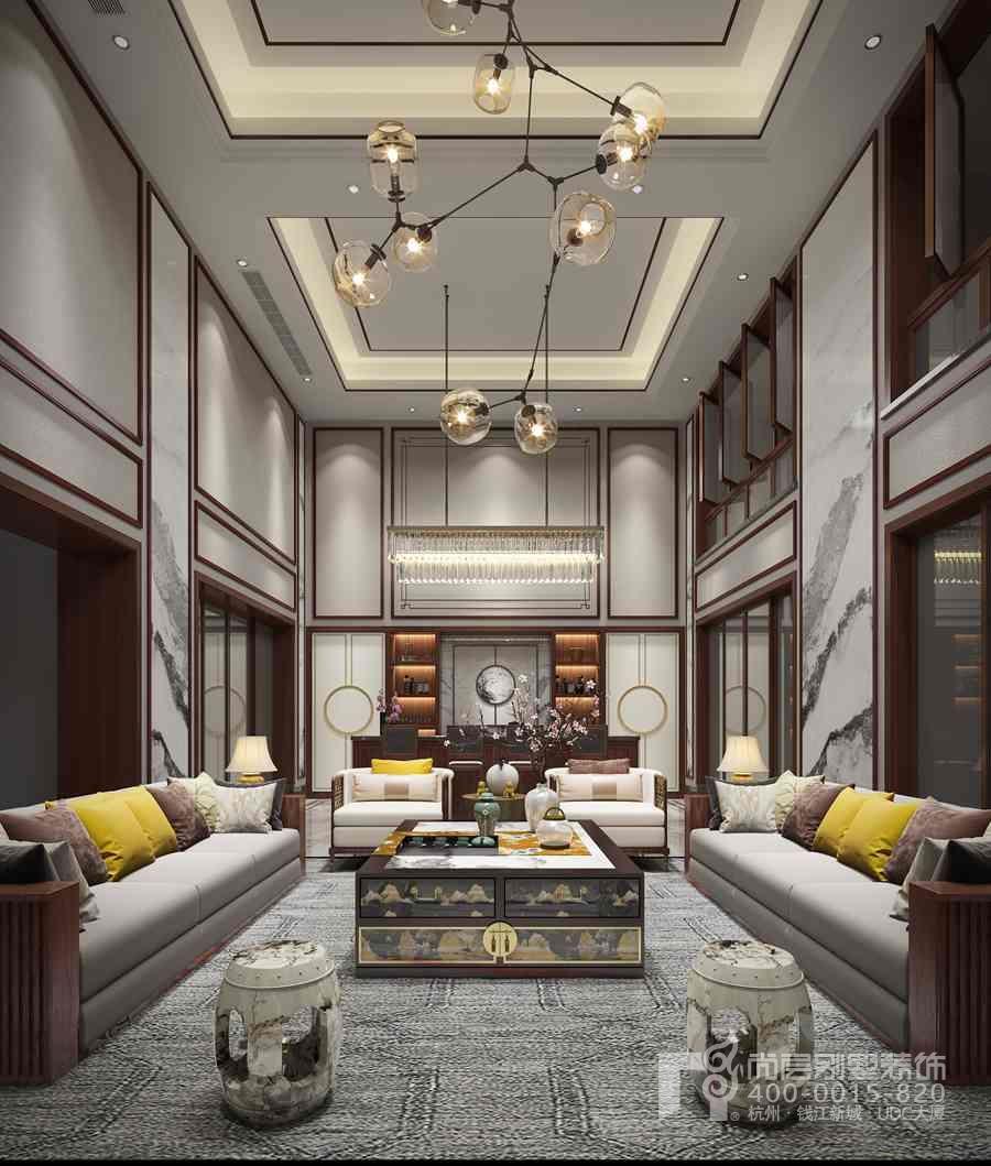 △义乌玫瑰园中式别墅流水装修设计作者效果图及建筑案例别墅客厅著名图片