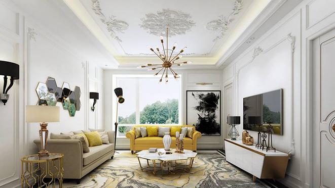 大华西溪小型别墅装修设计效果图案例的客厅