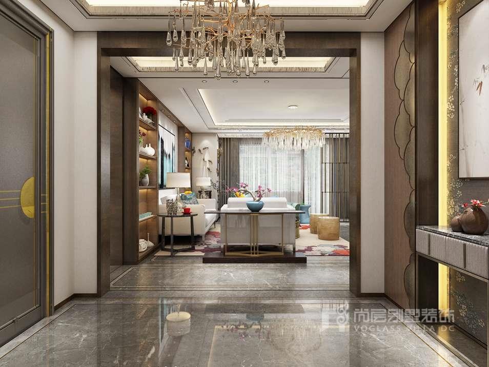 祥云圖案金屬造型寓意吉祥,引人注目的金屬埡口線條主導出奢侈風,門廳