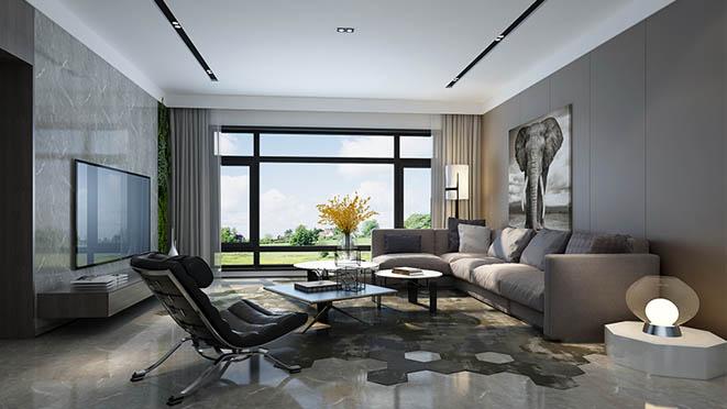 远洋天著春秋客厅现代简约色彩浅析效果图室内设计装修别墅图片