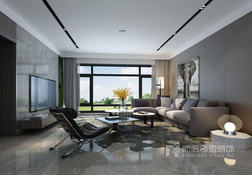 远洋天著春秋别墅现代简约客厅装修效果图