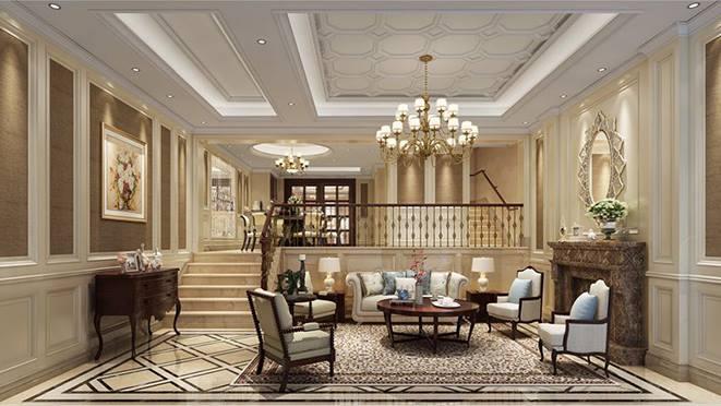 本次顺发恒园别墅装修案例的客厅结构以楼梯将空间区分为上下两层