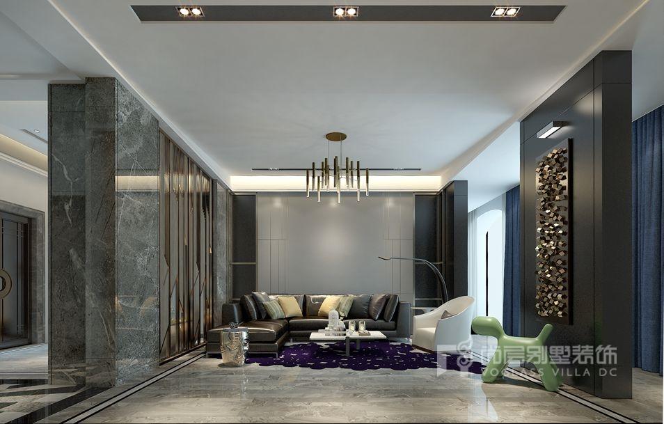 紫禁壹号院别墅现代简约客厅装修效果图
