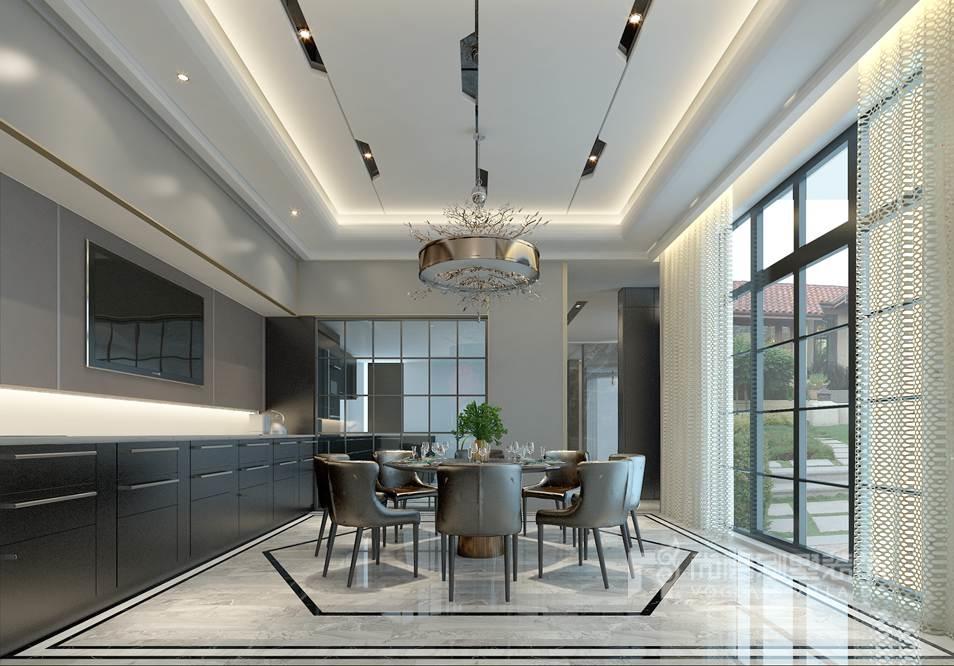 紫禁壹号院别墅现代简约餐厅装修效果图