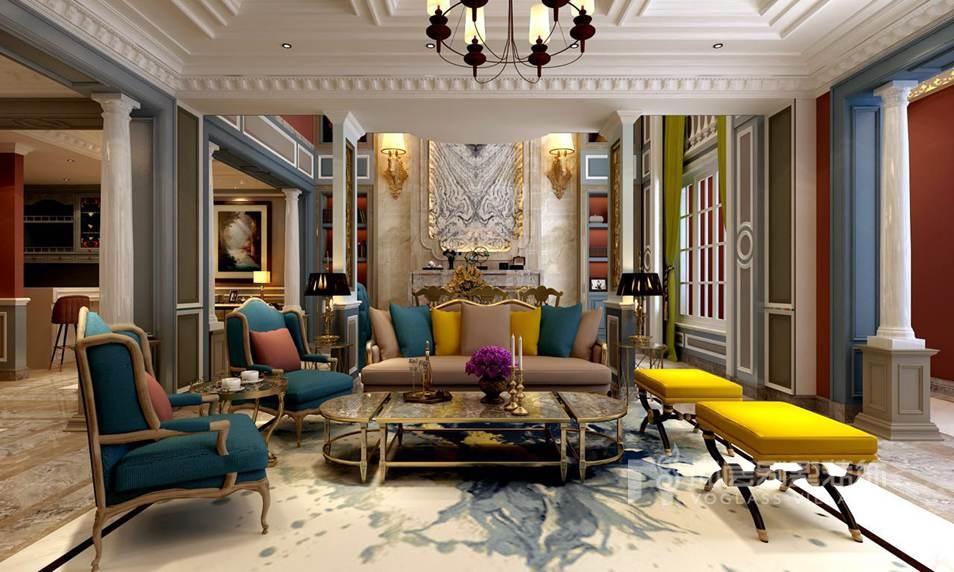 玫瑰园别墅法式客厅装修效果图