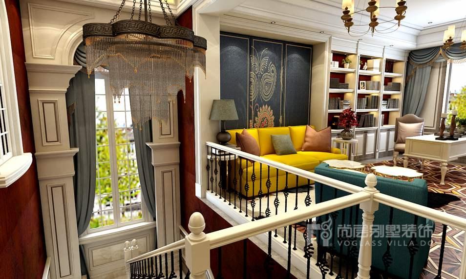 玫瑰园别墅法式起居室装修效果图