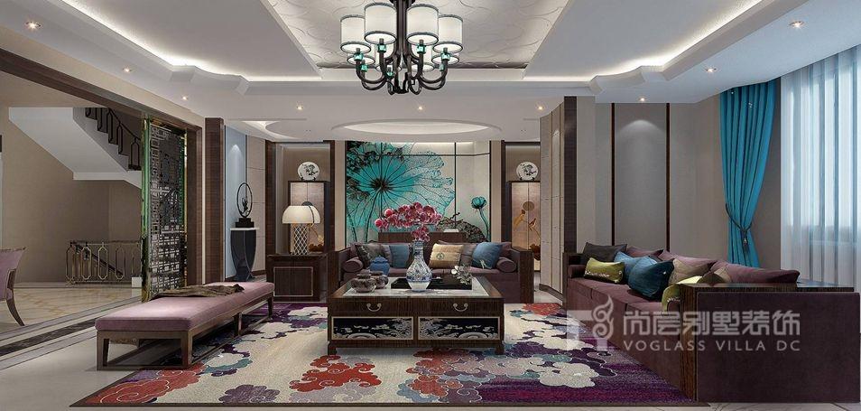 上京王府别墅新中式客厅装修效果图