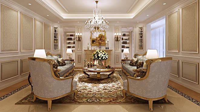 亚运新新家园别墅欧式客厅装修效果图