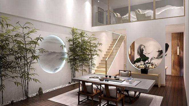 燕西华府别墅现代简约茶室装修效果图