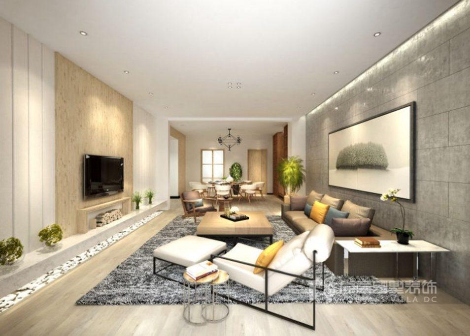燕西华府别墅现代简约客厅装修效果图