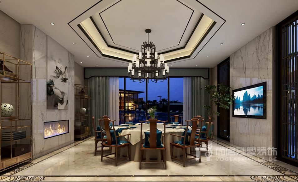 新中式风格别墅装修设计餐厅效果图