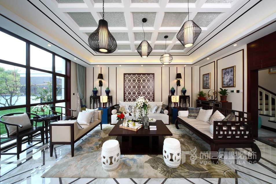 新中式风格别墅装修设计客厅效果图