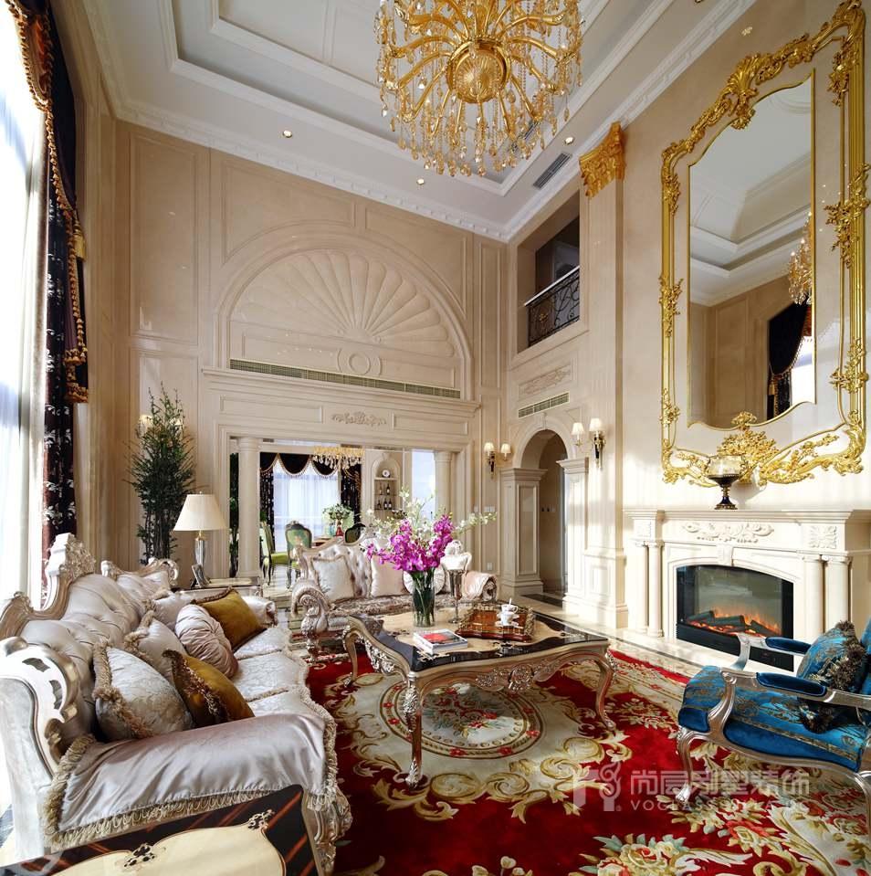 欧式风格别墅装修客厅实景图
