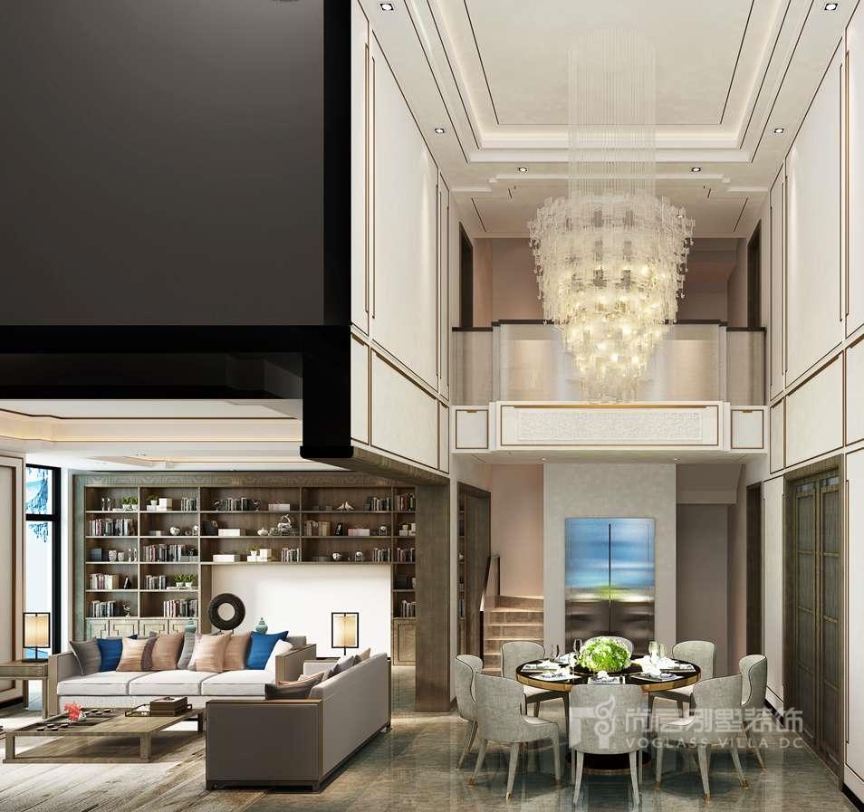 客厅的室内装修设计,在吊顶空间中辅以精致的线条细节,大气而不失优雅
