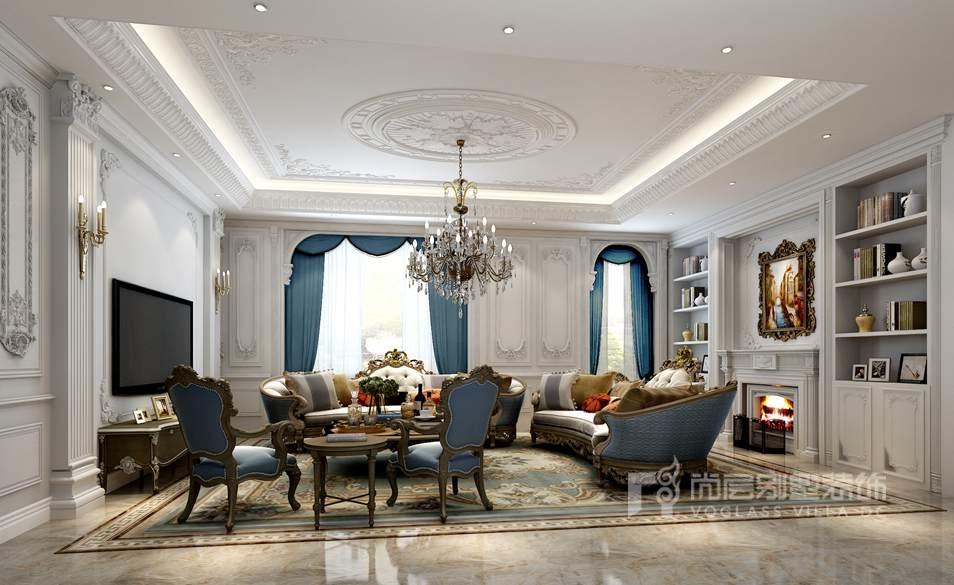远洋天著别墅现代法式客厅装修效果图