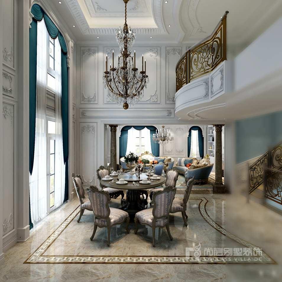 远洋天著别墅现代法式餐厅装修效果图