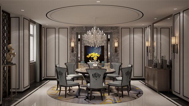 新中式餐厅别墅装修效果图