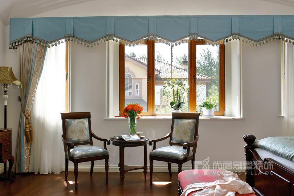 瓦尔登湖别墅北美乡村风格卧室装修实景图