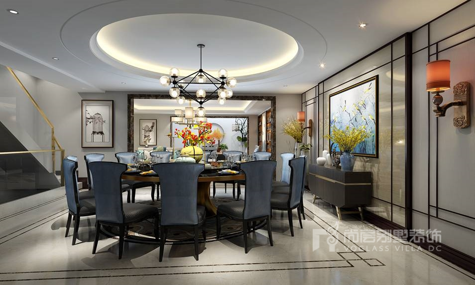 远洋天著三期别墅新中式餐厅装修效果图
