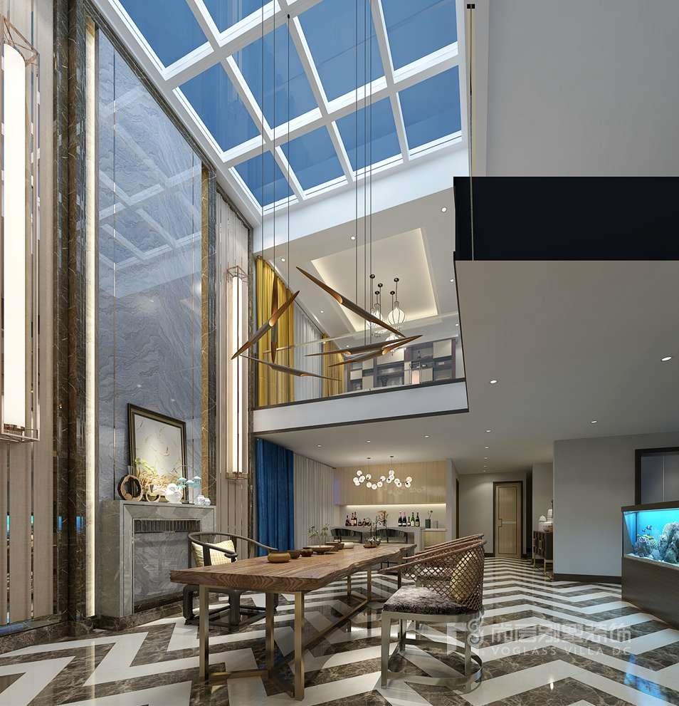 远洋天著三期别墅新中式茶室装修效果图