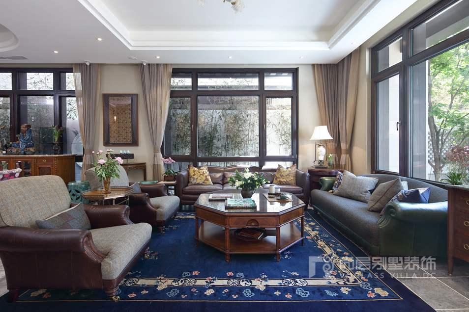 北京院子别墅混搭风格客厅装修实景图