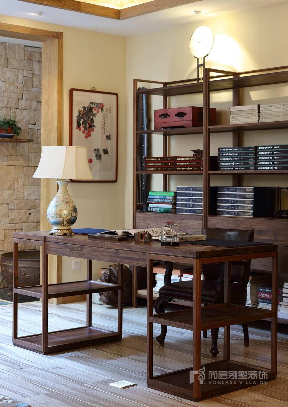 北京院子别墅混搭风格书房装修实景图
