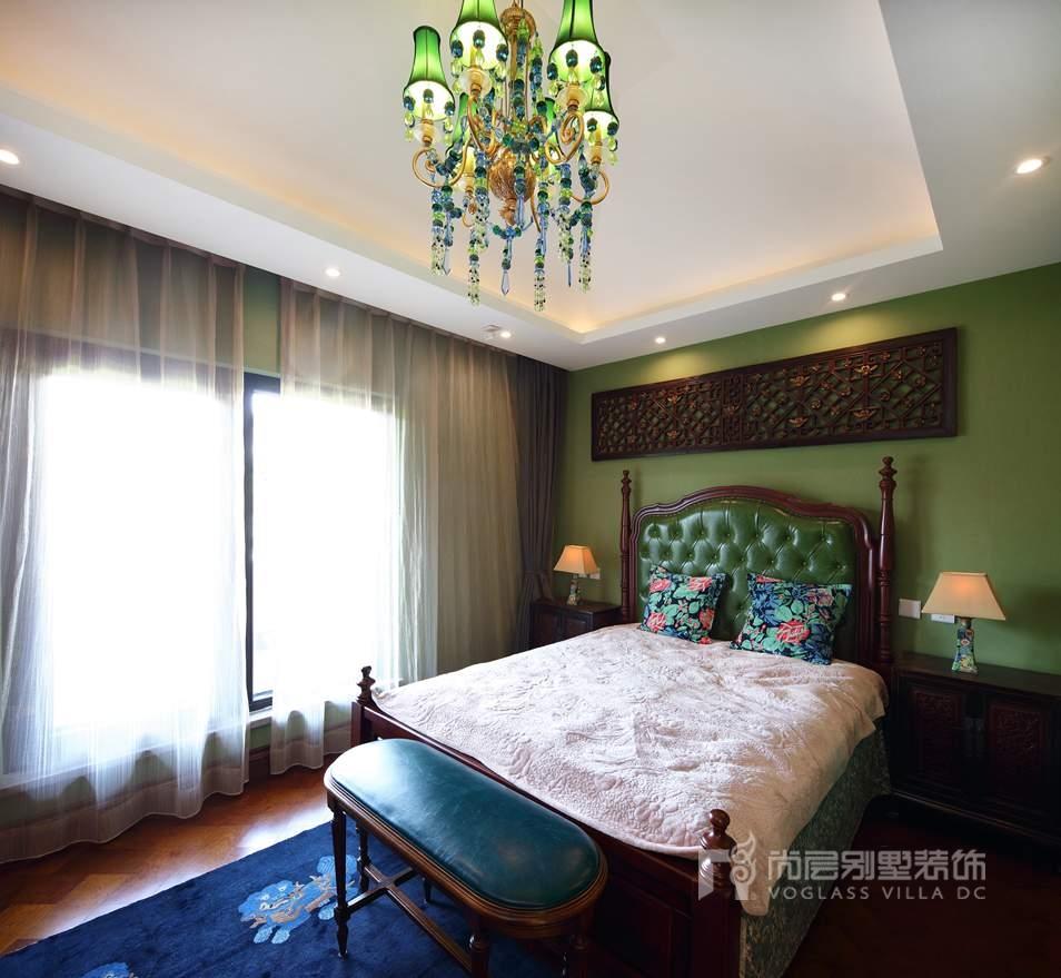 北京院子别墅混搭风格卧室装修实景图