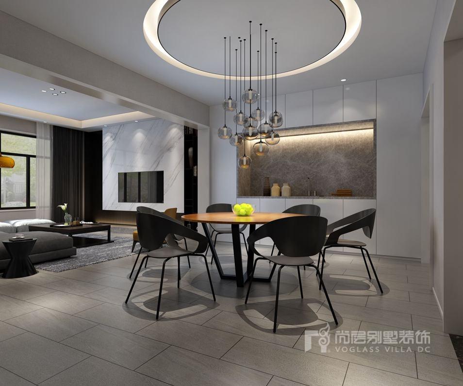 圆形吊顶相呼应,地面工字铺法延伸到客厅,让整个泷悦长安别墅装修空间