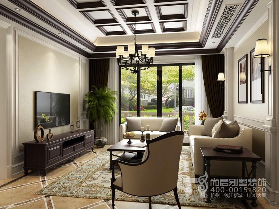 碧桂園別墅客廳美式風格裝修效果圖