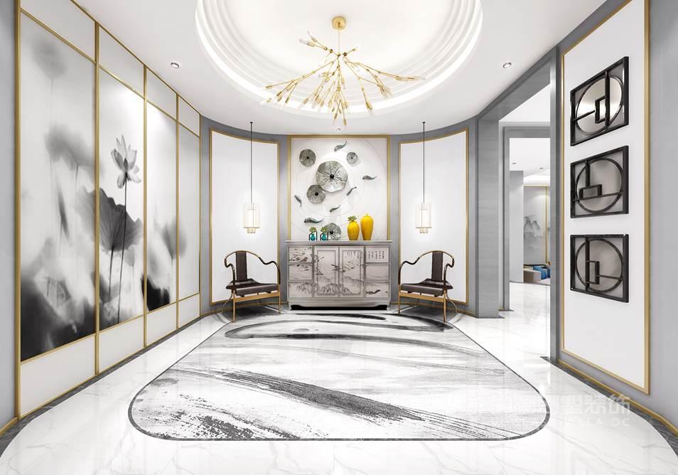 棕榈滩别墅新中式门厅装修效果图