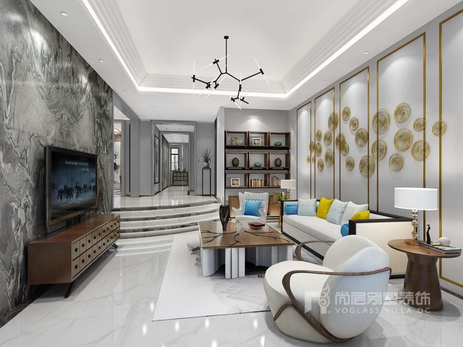 棕榈滩别墅新中式客厅装修效果图