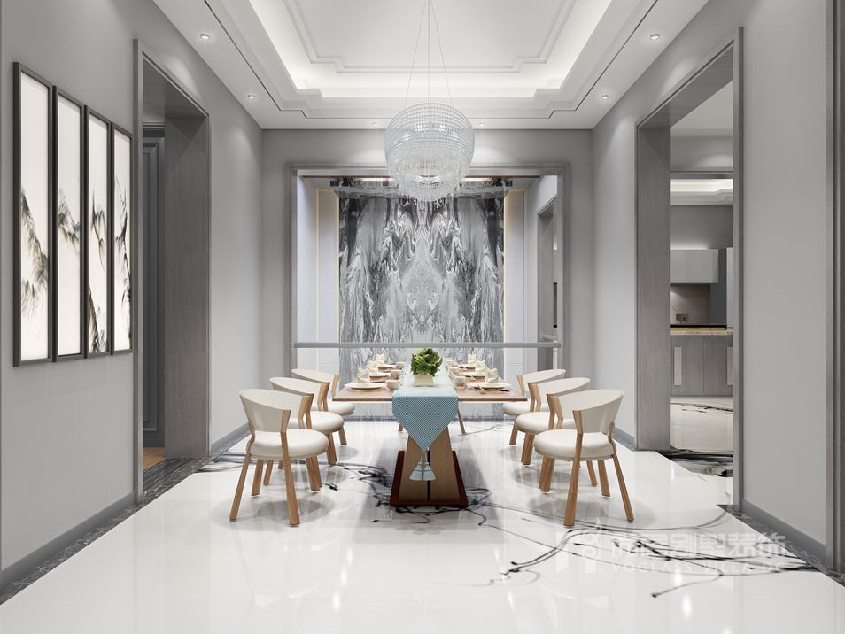 棕榈滩别墅新中式餐厅装修效果图