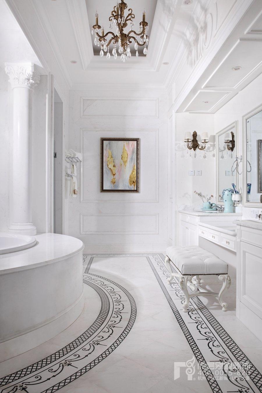 别墅设计师将卫浴间的干湿区域划分明显,最大限度的方便使用者