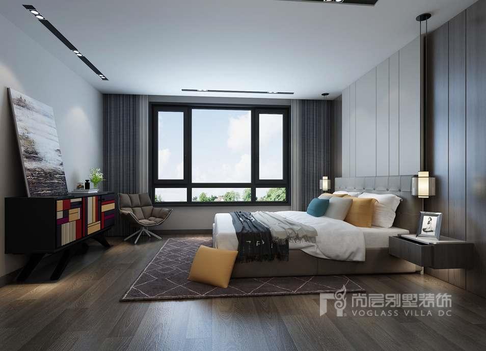 现代简约别墅装修方案-卧室效果图