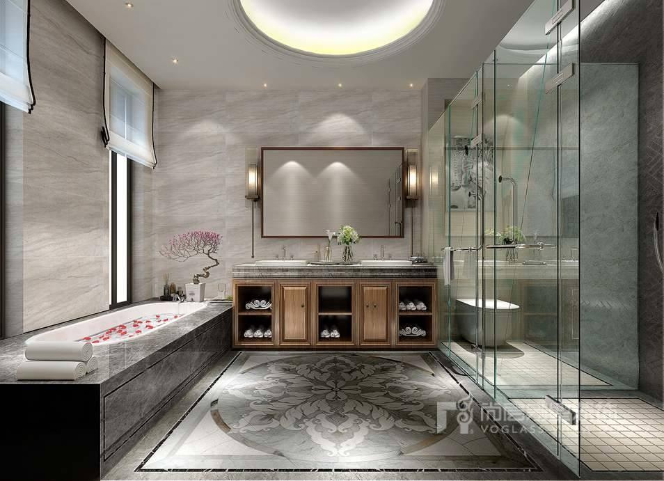 一面足够大的镜子可以使你的空间成倍增加,特别是在浴室里。不过,这种大幅的镜子一定要选择品质好的,尺寸厚度都要精准,否则会严重影响整体效果。一面好镜子,效果会非常强大,您只需要几分钟就能使房间看起来完美无缺。 别墅卫生间装修设计原则八:设计合适的壁龛 在合适的位置设计一个开放的壁龛不仅可以增加存储空间,同时还可以增加视觉上的深度,使墙壁看起来远远超过真实的空间距离。 在设计壁龛的时候,一定要和专业人士沟通,因为卫生间的墙体上会有很多管道、管线等。 卫生间拥有丰富的照明方案是关键,最好在不同地点使用多个光源