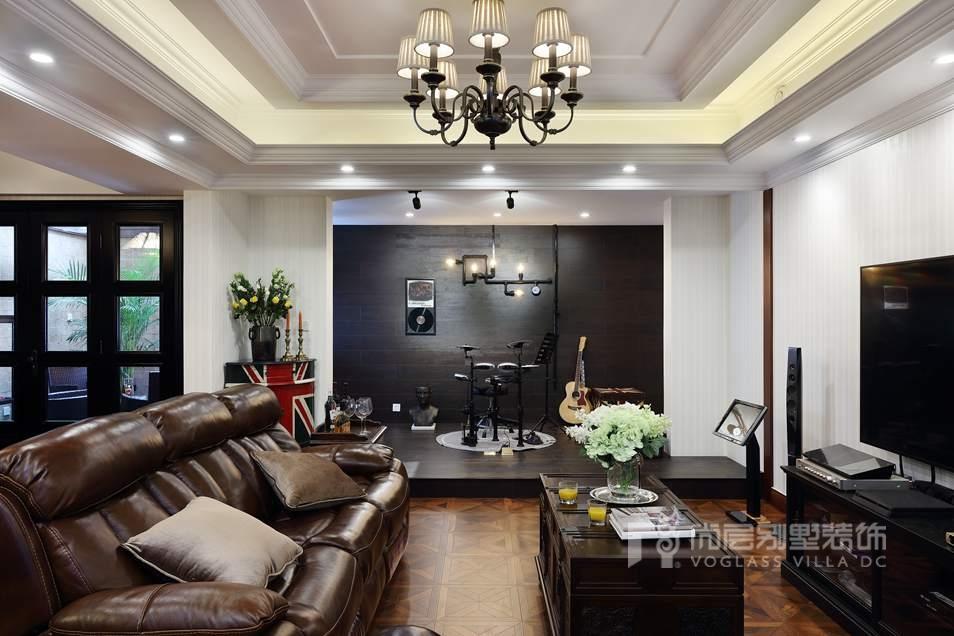 枫丹壹号别墅美式新古典地下室装修实景图图片
