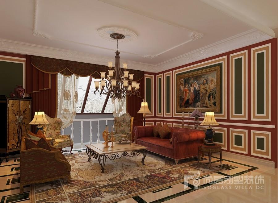 欧式客厅窗帘软装配饰效果图