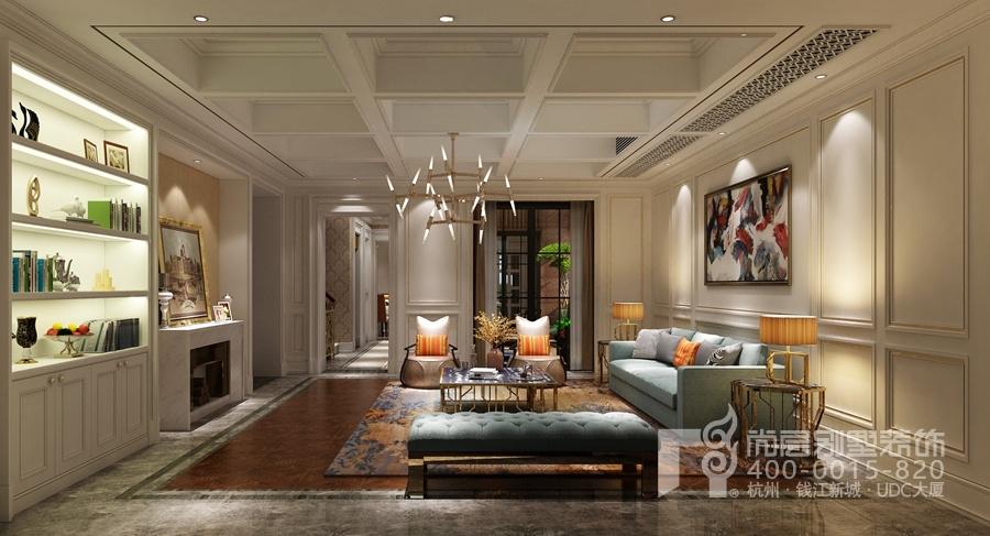排屋客厅装修设计用乳白色护墙配合线条,使得墙面别具美感,在设计感十