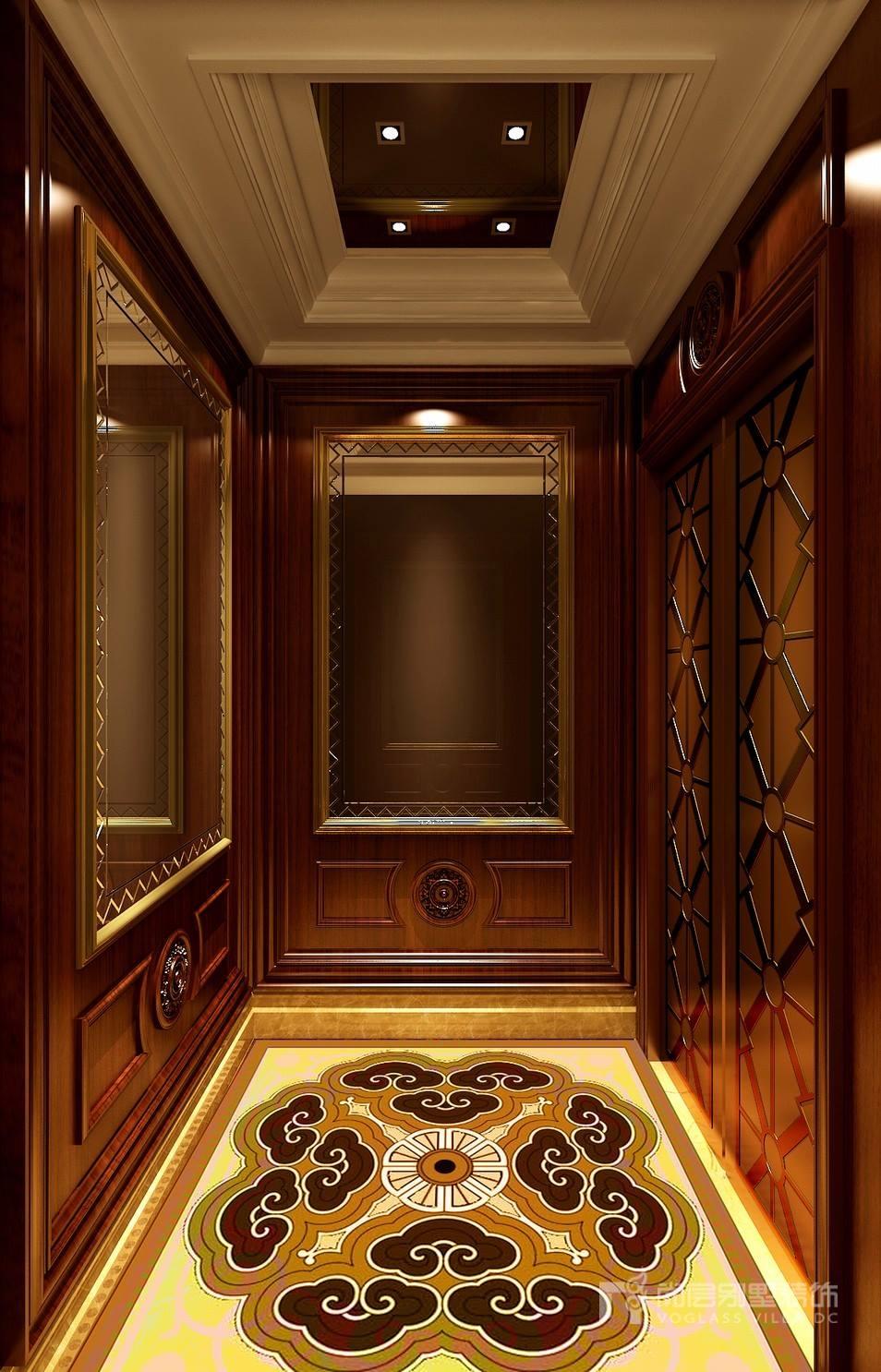效果图中地面吉祥图案的石材拼花与墙面木制墙板,彰显出美式古典风格图片
