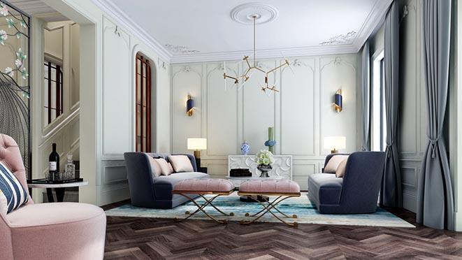 紫禁壹号院别墅现代法式客厅装修效果图