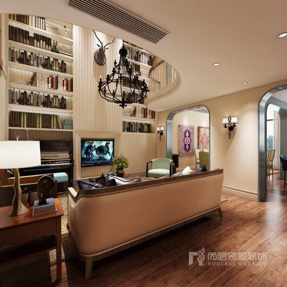 美式乡村别墅装修设计客厅效果图