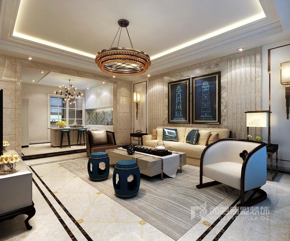鲁能七号院别墅新装饰风格客厅装修效果图
