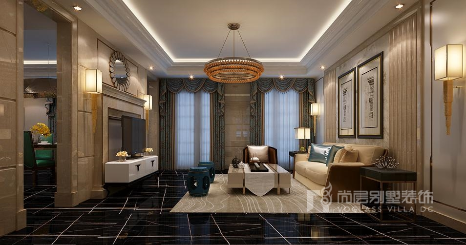 鲁能七号院别墅新装饰风格起居室装修效果图