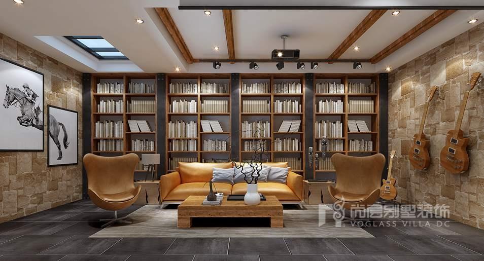 在本案鲁能七号院别墅装修设计中,起居室地面运用抽象的黑色地砖与