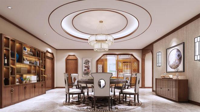 八大处山庄别墅新中式餐厅装修效果图