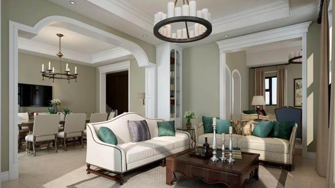 君山高尔夫现代美式客厅别墅装修效果图