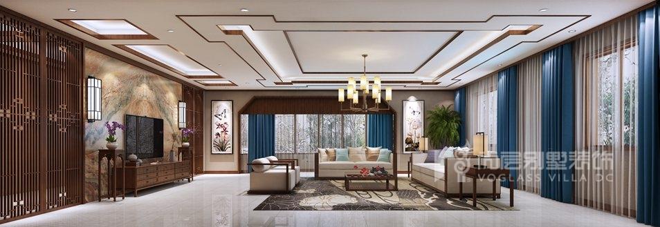 八大处山庄别墅新中式客厅装修效果图
