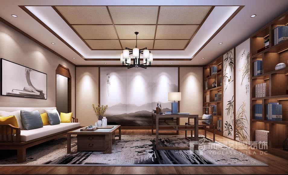 八大处山庄别墅新中式书房装修效果图