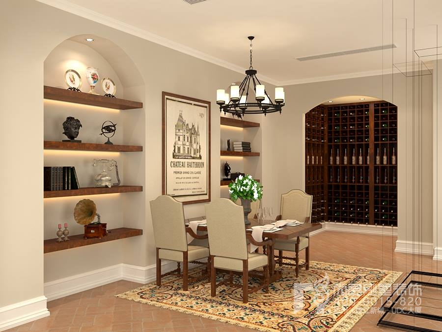 田园风格装修设计别墅地下室装修设计没有繁复的装饰,是结合了品酒区